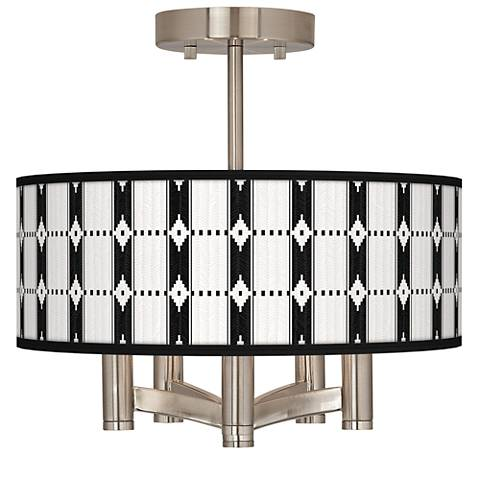 Tribal Weave Ava 5-Light Nickel Ceiling Light
