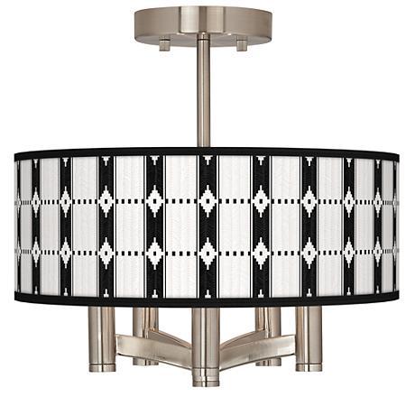 Tribal Weave Ava 5-Light Nickel Ceiling Light