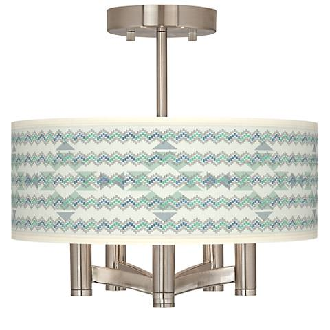 Triangular Stitch Ava 5-Light Nickel Ceiling Light
