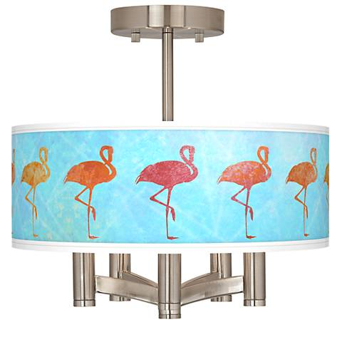 Flamingo Shade Ava 5-Light Nickel Ceiling Light