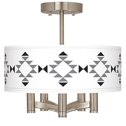 Desert Grayscale Ava 5-Light Nickel Ceiling Light
