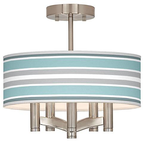 Multi Color Stripes Ava 5-Light Nickel Ceiling Light