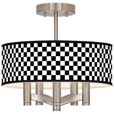 Checkered Black Ava 5-Light Nickel Ceiling Light