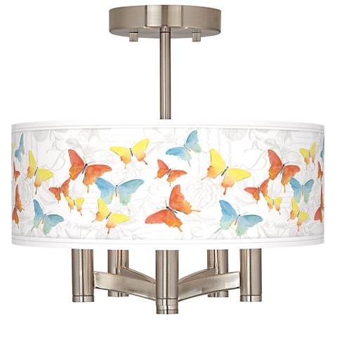 Pastel Butterflies Ava 5-Light Nickel Ceiling Light