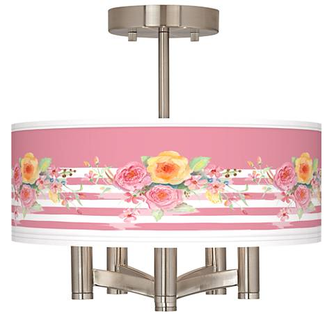 Country Rose Ava 5-Light Nickel Ceiling Light