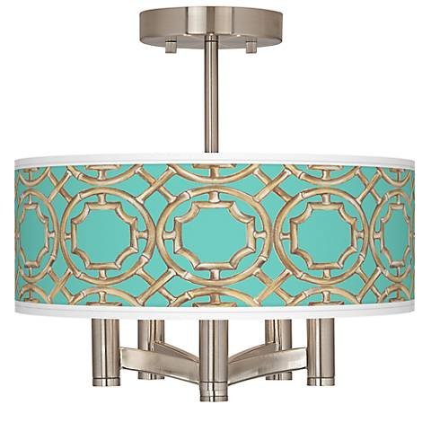 Teal Bamboo Trellis Ava 5-Light Nickel Ceiling Light