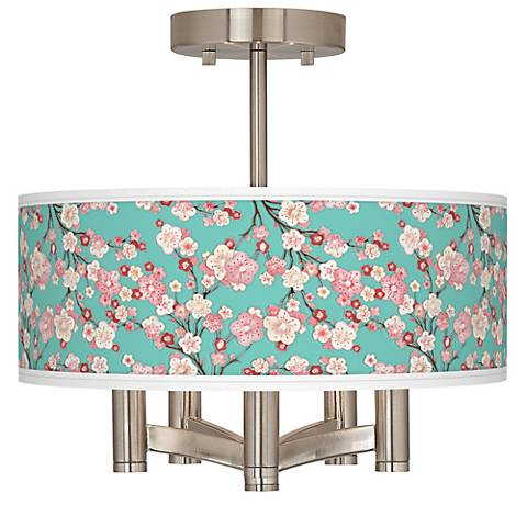 Cherry Blossoms Ava 5-Light Nickel Ceiling Light