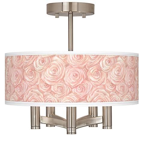 Pink Roses Ava 5-Light Nickel Ceiling Light