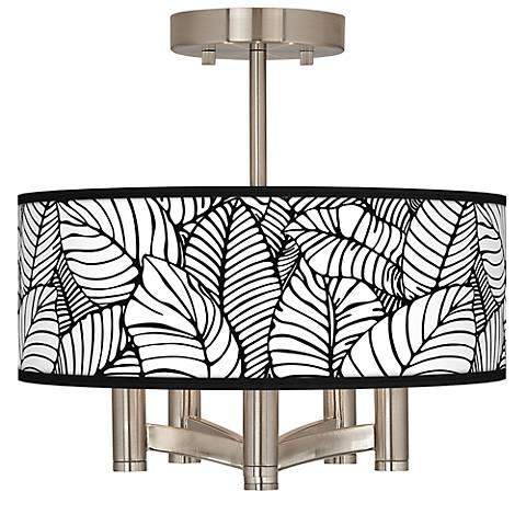 Tropical Leaves Ava 5-Light Nickel Ceiling Light