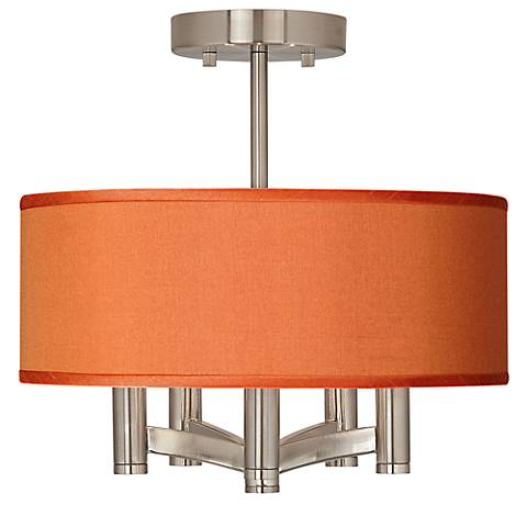 Orange Faux Silk Ava 5-Light Nickel Ceiling Light