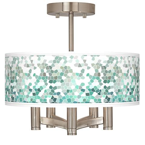 Aqua Mosaic Ava 5-Light Nickel Ceiling Light