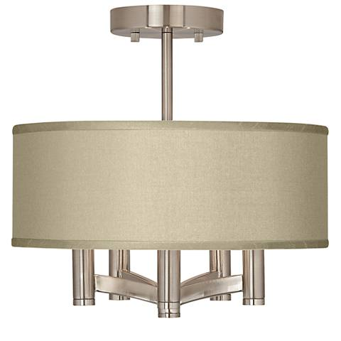 Sesame Textured Silk Ava 5-Light Nickel Ceiling Light
