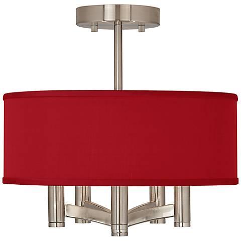 China Red Textured Silk Ava 5-Light Nickel Ceiling Light