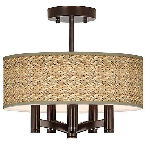 Seagrass Print Ava 5-Light Bronze Ceiling Light
