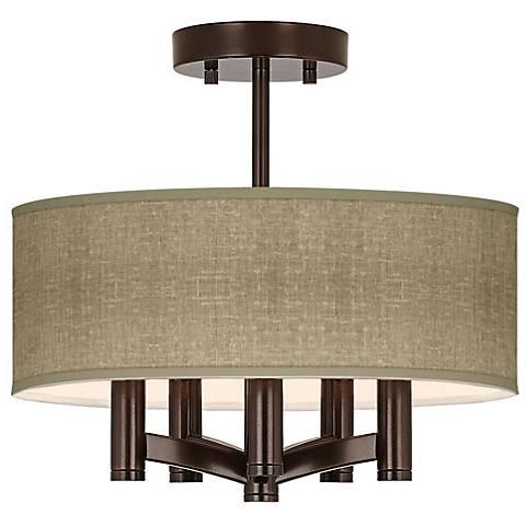Burlap Print Ava 5-Light Bronze Ceiling Light