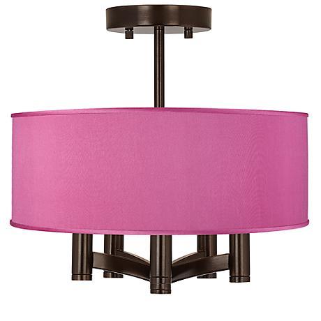 Pink Orchid Faux Silk Ava 5-Light Bronze Ceiling Light