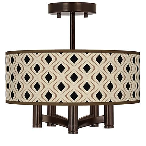 Gray Retro Lattice Ava 5-Light Bronze Ceiling Light