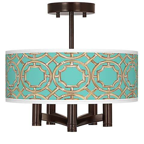 Teal Bamboo Trellis Ava 5-Light Bronze Ceiling Light