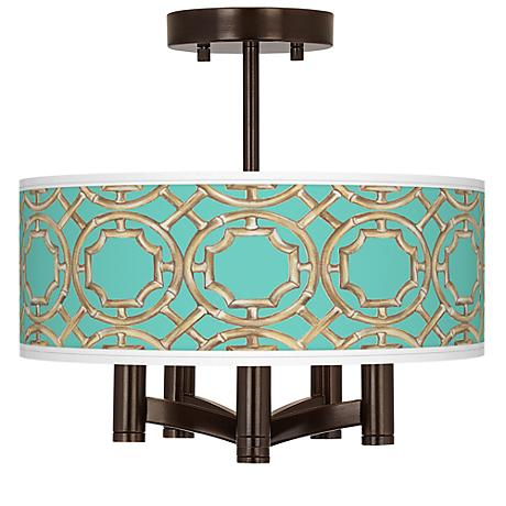 Teal Bamboo Trellis Ava 5-Light Bronze Ceiling Light