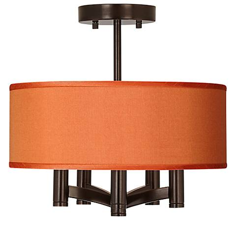 Orange Faux Silk Ava Bronze Ceiling Light
