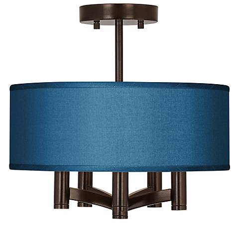 Blue Faux Silk Ava 5-Light Bronze Ceiling Light
