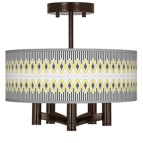 Desert Geometric Ava 5-Light Bronze Ceiling Light