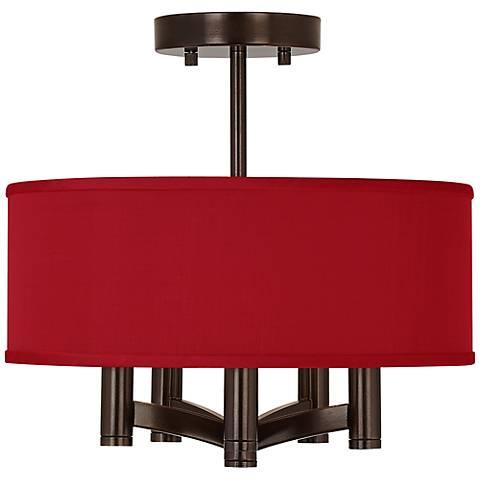 China Red Textured Silk Ava 5-Light Bronze Ceiling Light