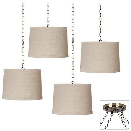 Natural Linen 4-Light Antique Brass Multi Light Pendant
