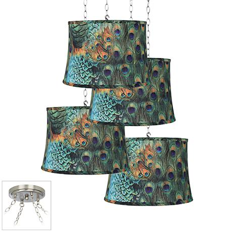 Peacock Print 4-Light Brushed Steel Multi Light Pendant