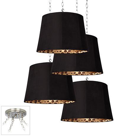 Black Faux Suede 4-Light Brushed Steel Multi Light Pendant
