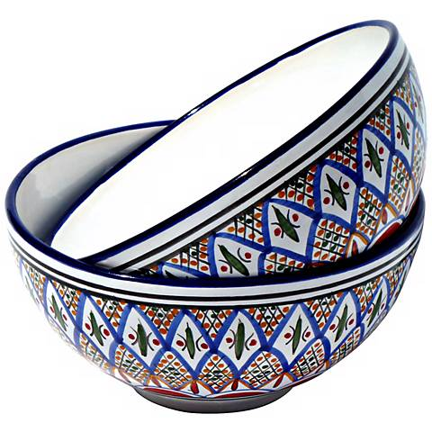 Le Souk Set of 2 Tabarka Design Medium Deep Serve Bowls
