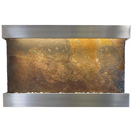 """Classic Quarry 33"""" Slate and Stainless Wall Fountain"""