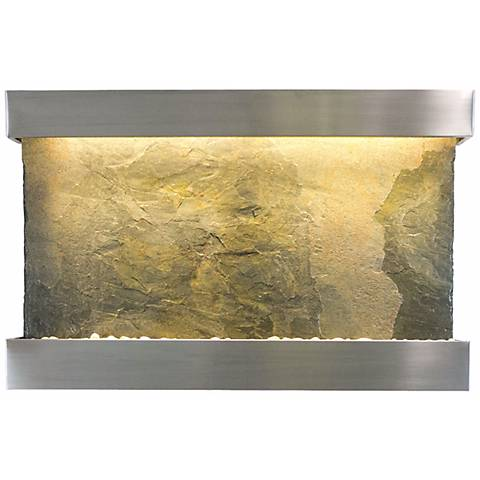 """Classic Quarry 33"""" Jeera Slate and Stainless Wall Fountain"""