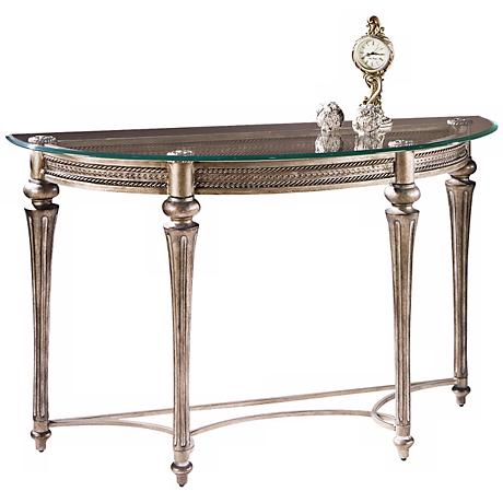 Galloway Subtle Gold Demilune Sofa Table