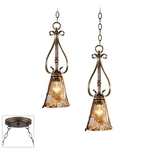 Amber Scroll Bronze 2-Light Swag Chandelier