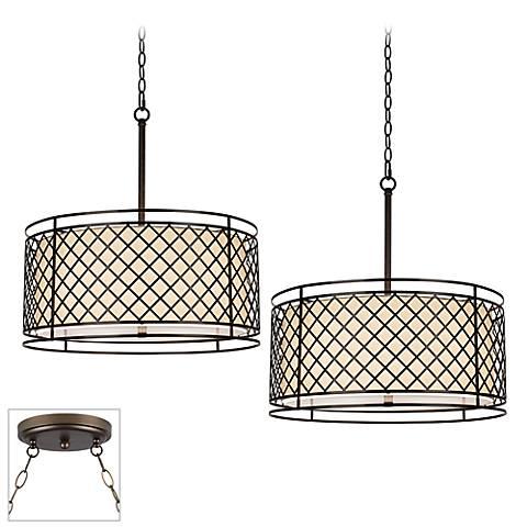 Lattice Bronze Double Multi Light Pendant
