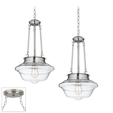 Possini Euro Schoolhouse Brushed Steel 2-Light Swag Chandelier