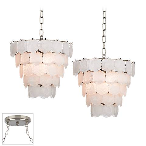 White Glass Chip Brushed Steel Double Multi Light Pendant