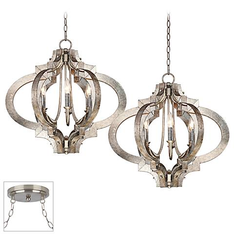 Ornament Brushed Steel Double Multi Light Pendant