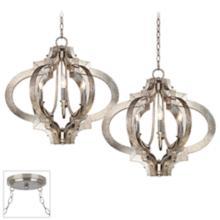 Ornament Brushed Steel Double Multi Light Pendant