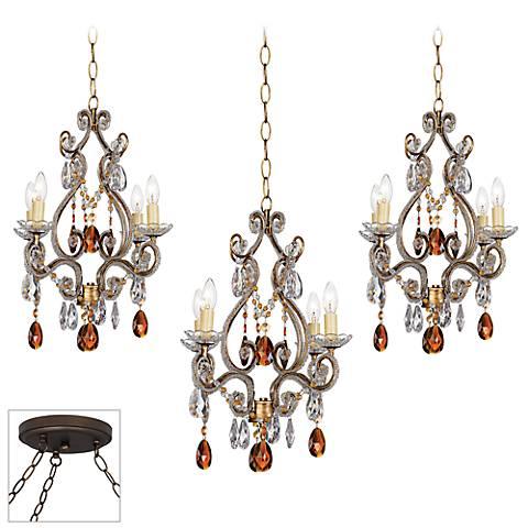Leila Gold and Bronze Triple Multi Light Pendant