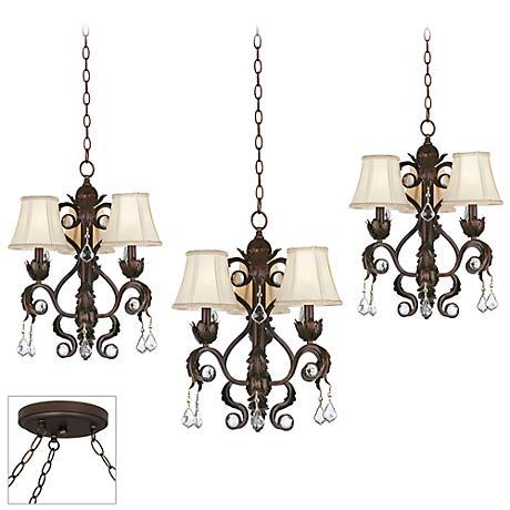 Ramas de Luces Bronze Triple Multi Light Pendant