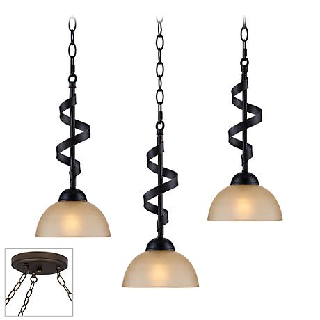 Bronzeador Bronze Triple Multi Light Pendant