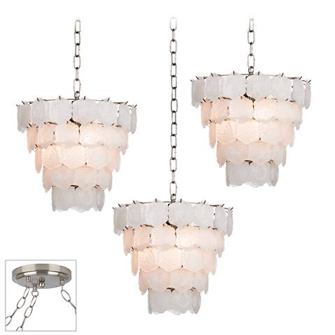 White Glass Chip Brushed Steel 3-Light Swag Chandelier