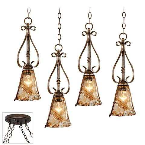Amber Scroll Bronze 4-Light Swag Chandelier