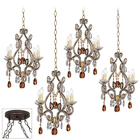 Leila Gold and Bronze 4-Light Multi Light Pendant