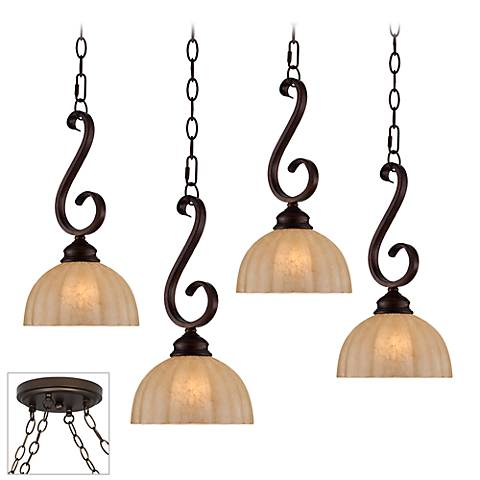 Ferro Scroll Bronze 4-Light Multi Light Pendant