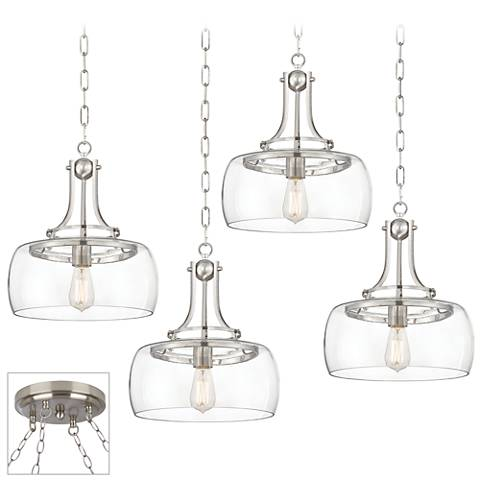 Charleston Brushed Steel 4-Light Swag Chandelier