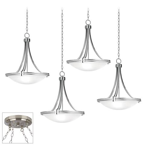 Possini Euro Deco Nickel Brushed Steel 4-Light Swag Chandelier