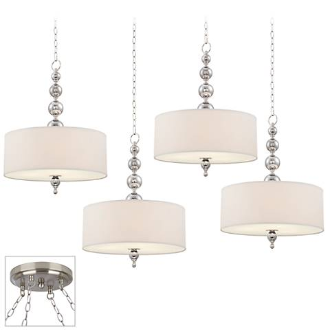 Possini Euro Mila Brushed Steel 4-Light Swag Chandelier